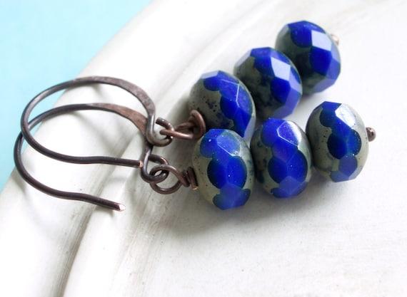 Blue Earrings - Electric - Czech Glass Rondelle and Copper Earrings