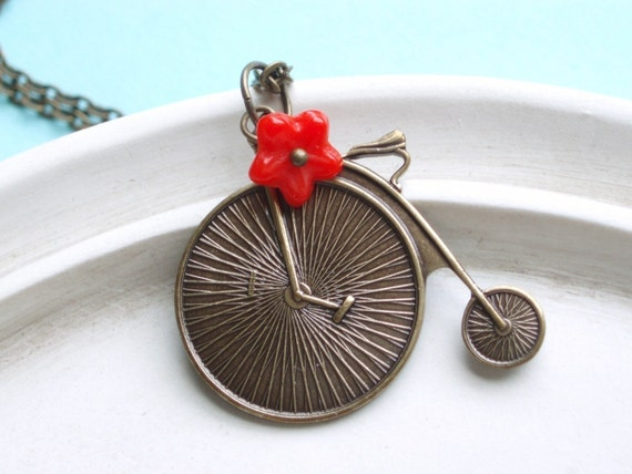Bicicletta - Summer Bicycle Necklace - Antiqued Brass with Red Flower