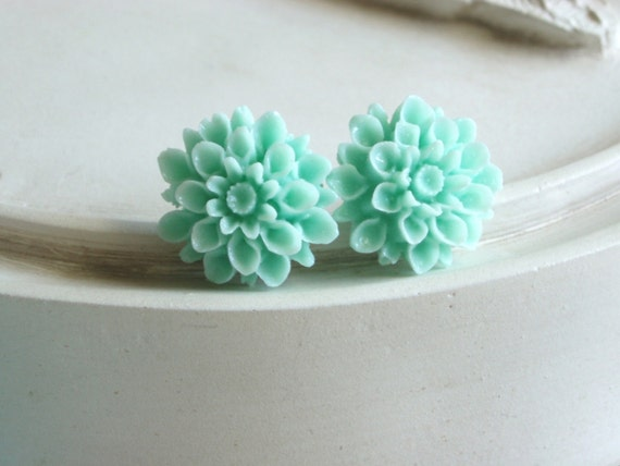 Mint Dahlia Post Earrings
