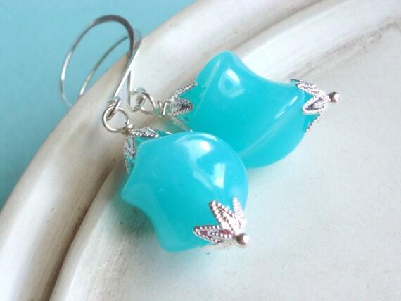 Beaded Earrings - Aqua Glow - Vintage Lucite Earrings