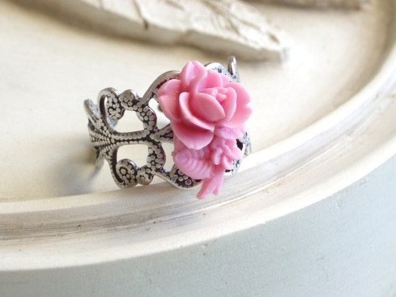 Silver RIng - Rose In Bloom - Expedited Shipping