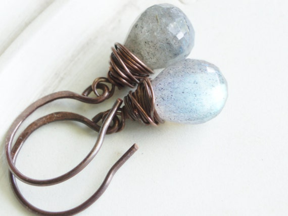 Wire Wrapped Labradorite Earrings - Silver Lining