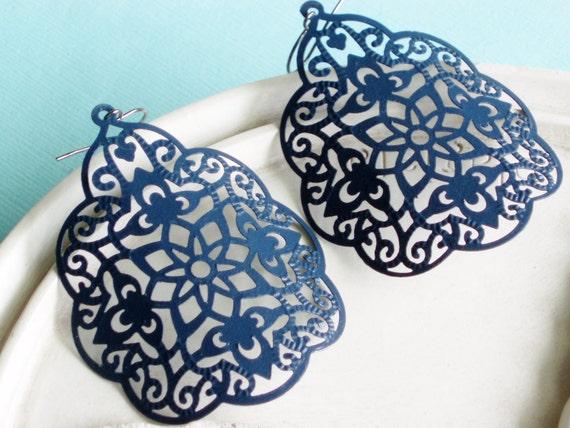 Large Statement Earrings - Byzantine - Navy Blue