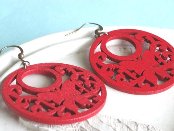 Statement Jewelry Large Earrings - Red Wooden Hoops