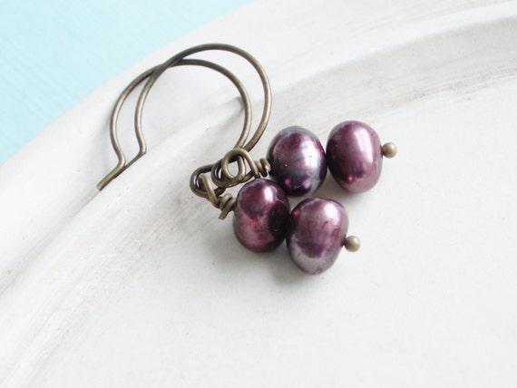 Freshwater Pearl Earrings - Maroon