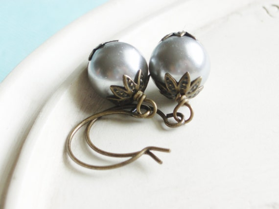 Pearl Earrings - Grey Pearl and Brass - Tea Party