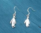 Markdown Sale...PENGUIN Silver Plated Metal Charm Dangle Earrings