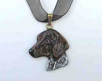 Dog Breed GERMAN SHORTHAIR Handpainted Clay Necklace/Pendant Artist Painted