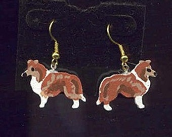 Handpainted Lightweight Wood SHELTIE Sable Dog Breed Dangle Earrings