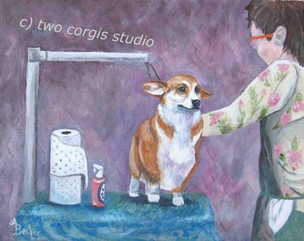 "Print Sale....Matted Print 8 x 10 from Original Painting ""Awwww Grooming Time"" by artist Ann Becker"