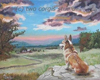 "Print Sale....Welsh Corgi Artwork Matted Print 8 x 10 from Original Painting ""Sunset On The Corgi Farm"" by artist Ann Becker"