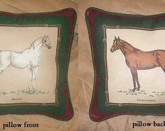 Final Markdown Sale...ARAB/THOROUGHBRED w/piping trim Horse Pillow...choose blue or green pillow