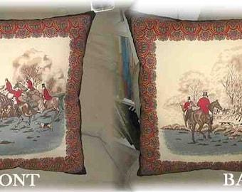 "Markdown Sale.....Antique Look FOXHUNTING Huntscene Black Border Horse Decorative 17"" Pillow"