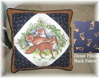 "Markdown Sale...RED FOX Fox Hunt Theme Decorative 14"" Pillow w/Piping Trim"