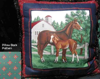 Final Markdown Sale...MARE/FOAL w/black trim Horse Decorative Pillow...Price Greatly Reduced