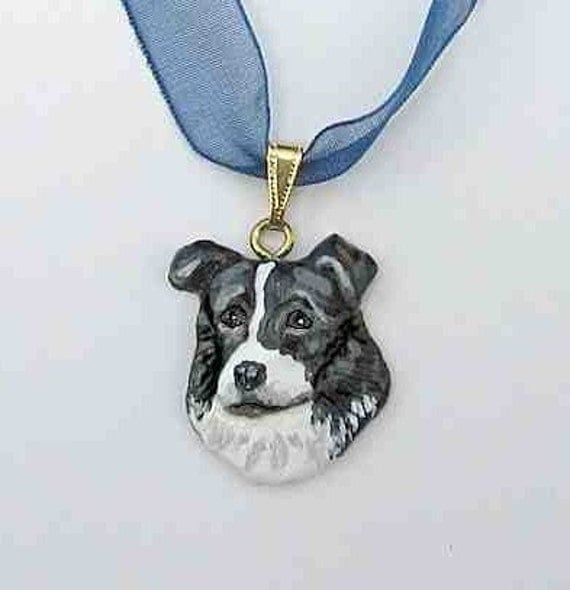 Dog Breed BORDER COLLIE Handpainted Clay Necklace/Pendant Artist Painted