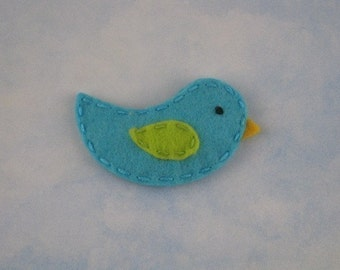 Turquoise and Lime Birdie Wool Felt Hair Clip