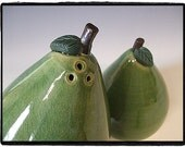 Beautiful Green Pear Salt and Pepper Shakers Set by misunrie