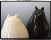 My Big Fat Cat Salt and Pepper Shakers Set-White and Black Glaze