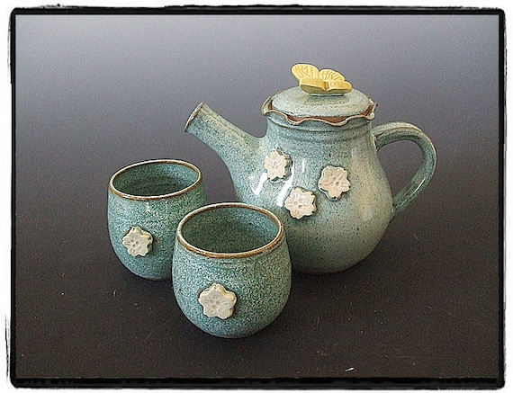 White Cherry Blossom and Yellow Butterfly Teapot and Two Tea cup Set in Turquoise