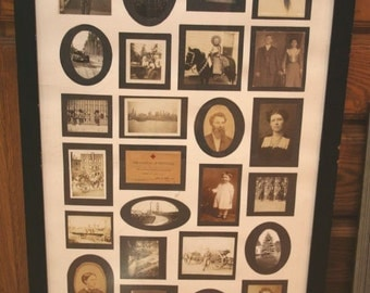 LARGE Antique Black and White Sepia Cabinet Photo Collage of People and Places
