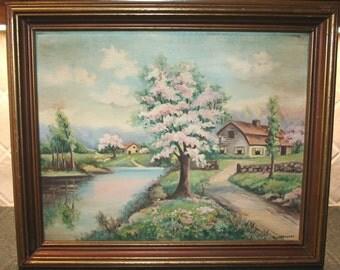 Quaint English Cottage Landscape Scene SIGNED in Frame