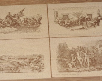 RARE Set of 4 Commemorative Bicentennial Prints by Ira Paul Johnstone