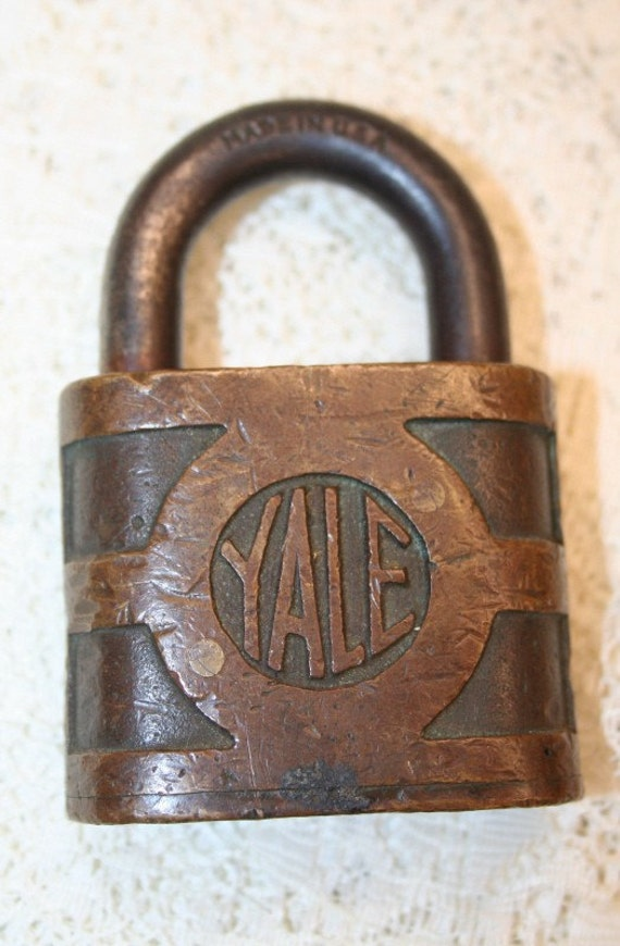Antique Solid Brass Yale And Towne Padlock By Bluebonnetsetc