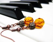 Gold Yellow Amber Beaded Earrings. Brown Copper Orange Wire Wrapped Glass Earrings