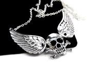 Angel Wing Necklace. Winged Skull Necklace. Silver Skull Crossbones Necklace