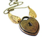 Angel Wing Necklace. Gold Brass Brown Heart Lock Necklace. Winged Heart Necklace.