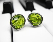 Olive Green Wire Wrapped Stud Earrings. Beaded Sterling Silver Glass Posts