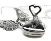 Engraved Padlock Necklace - Angel Wing Necklace - Heart Necklace - Couples Necklace Set - BDSM Necklace - BDSM Collar - Engrave BDSM Jewelry