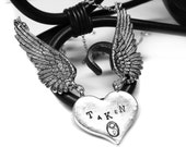 Silver Angel Wing Necklace. TAKEN Heart Lock Necklace. Relationship Status Necklace.