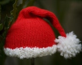 Custom Knit Christmas Santa Hat for Newborn and Baby Photography Prop