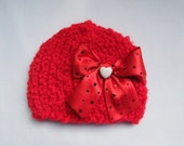 Custom Made Red Valentine's Day Hat with Adorable Red Ribbon and Cute Little White Heart for Baby and Newborn - Photography Prop