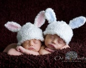 Custom Made Bunny Hat with Adorable White and Blue Bunny Ears for Newborn - Photography Prop