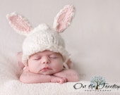 Bunny Hat, Selected Top 12 Etsy Gift by BabyList ,Newborn Hat with White and Pink Bunny Ears for Newborn and Baby - Photography Prop