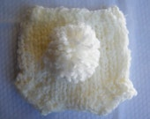 Custom Knit Newborn and Baby White Diaper Cover with Pompom Martches with the Bunny Hat - Photography Prop