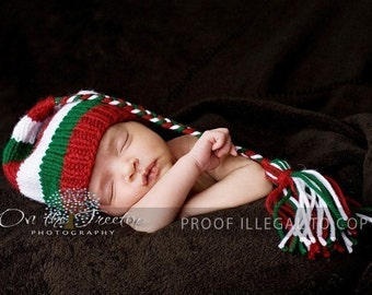 Elf Hat, Christmas Hat, Newborn Hat, Baby Hat, Handmade in Red and Green and White, Stocking with Tassel and Braid-Photography Prop
