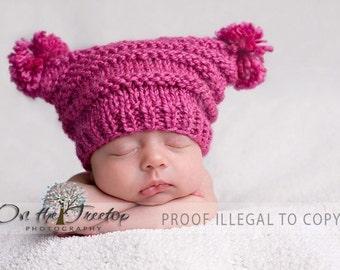 Newborn Hat, Dark Pink Hat with Pompoms, Baby Hat, Girl Hat, Handmade Dark Pink Flat Top Hat with Pompoms for Newborn Photography Prop