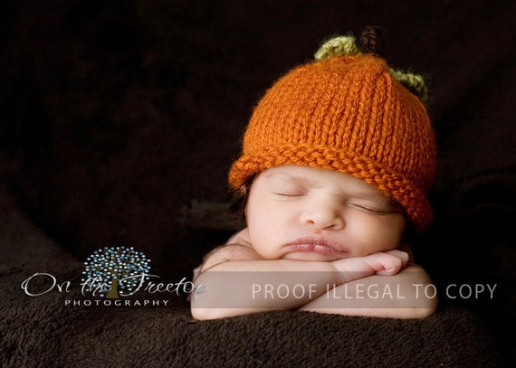 Ready to Ship - Custom Made Orange Halloween Pumpkin Hat with Green Leaves and Cute little Brown Stalk for Baby and Newborn