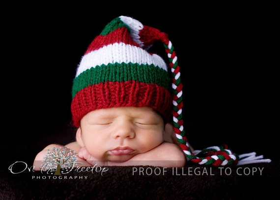 Custom Striped Red and Green and White Stocking Christmas Hat with Tassel for Baby and Newborn