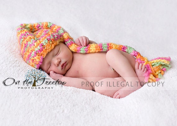 Custom Knit Beautiful Stocking  Sherbet Hat for Baby and Newborn in Pink, Yellow, Orange and Green