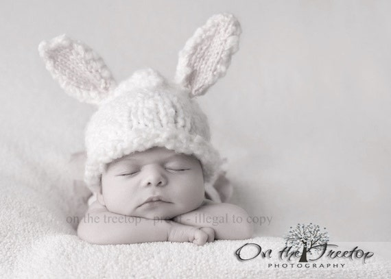 Custom Made Bunny Hat with Adorable White and Gender Natural Cream Bunny Ears for Newborn and Baby - Photography Prop