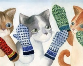 Kittens in Mittens Print on 8.5 by 11 Glossy Paper