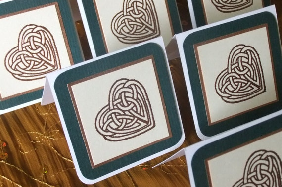 Celtic Heart Mini Note Gift Cards and Envelopes Set of 5