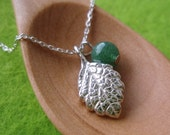 Baby Lemon Balm Leaf Pendant - 999 Silver,Green Aventurine Quartz