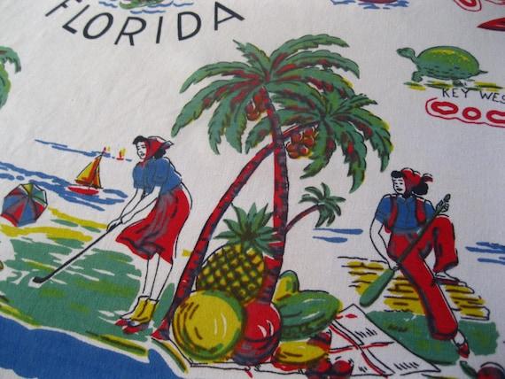 Vintage Florida souvenir tablecloth - 1940s flamingos and palm trees