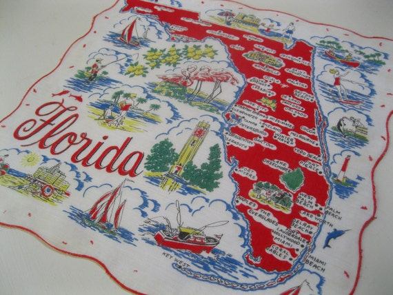 1950s Florida souvenir handkerchief hankie with palm trees and flamingos